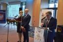 Od lewej prowadzący konferencję: Pani Edyta Lindorf-Jankiewicz i Pan Daniel Kalski, Dyrektor WUP w Olsztynie, Pan Zdzisław Szczepkowski